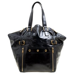 Saint Laurent Black Patent Leather Large Downtown Tote