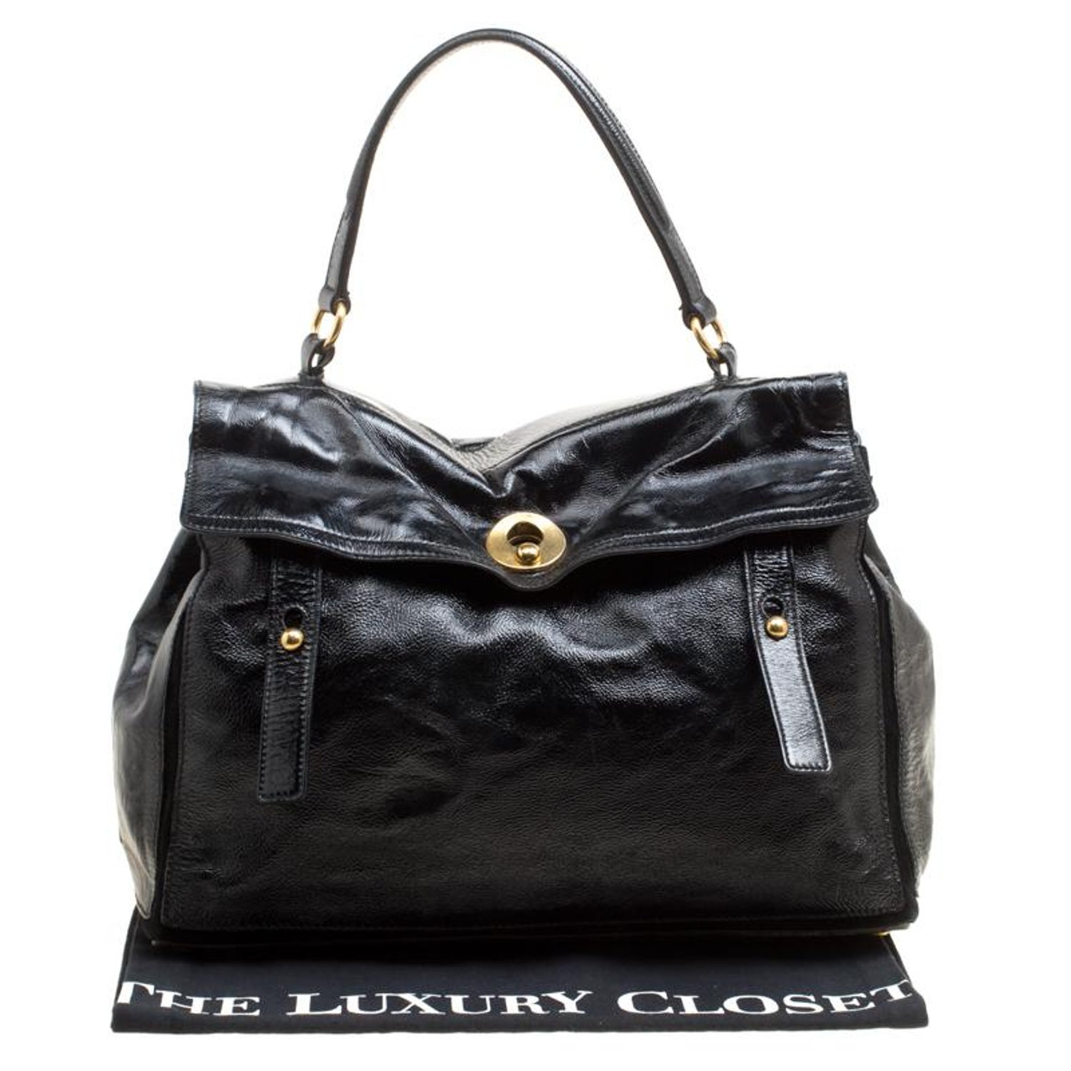 Saint Laurent Black Patent Leather Large Muse Two Satchel For Sale at  1stdibs 6c05f857fe789