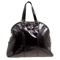 Saint Laurent Black Patent Leather Oversized Muse Satchel