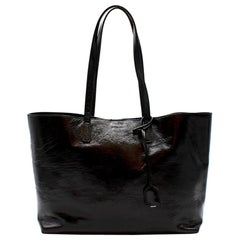 Saint Laurent Black Patent Leather Shopping Tote