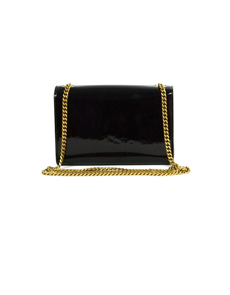Saint Laurent Black Patent Leather Small Monogram Kate Crossbody Bag In Excellent Condition In New York, NY