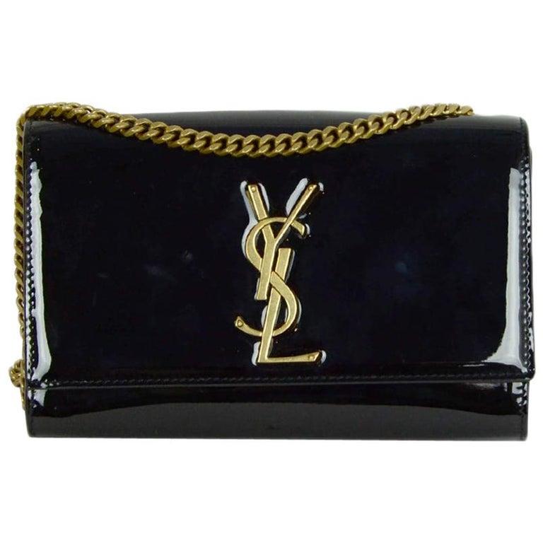 Saint Laurent Black Patent Leather Small Monogram Kate Crossbody Bag
