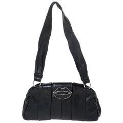 Saint Laurent Black Pleated Leather Lips Flap Shoulder Bag