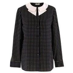 Saint Laurent Black Polka Dot Silk Shirt estimated size XS