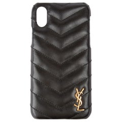 Saint Laurent Black Quilted Leather iPhone Xs with Gold Monogram Logo