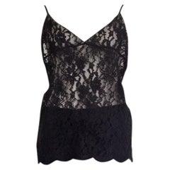 SAINT LAURENT black silk LACE Camisole Tank Top Shirt M / L