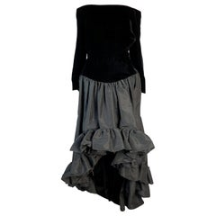 Saint Laurent black silk velvet and taffeta high-low hem evening gown, 1988