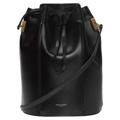 """Saint Laurent Black Smooth Leather """"Talitha"""" Medium Bucket Bag"""