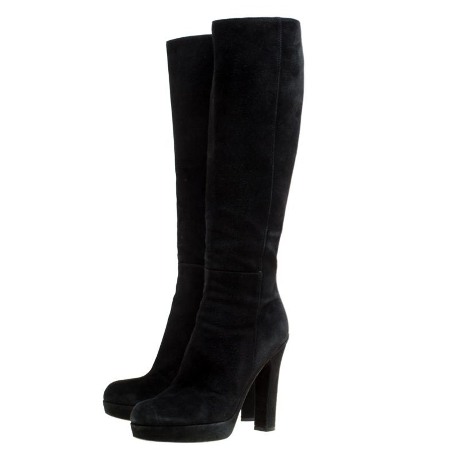 21464315f74 Saint Laurent Black Suede Block Heel Knee Length Platform Boots Size 40 For  Sale at 1stdibs