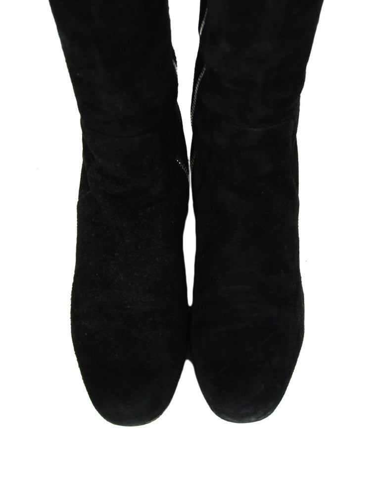 Women's Saint Laurent Black Suede Boot w/ Side Zip sz 37.5 For Sale