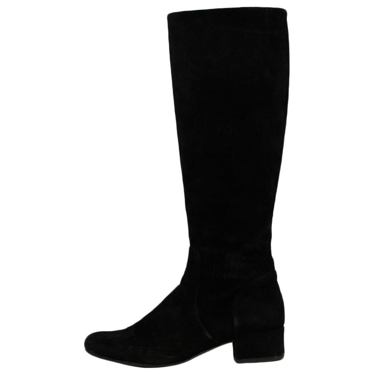Saint Laurent Black Suede Boot w/ Side Zip sz 37.5 For Sale