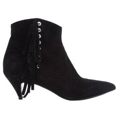 Saint Laurent Black Suede Booties with Fringe