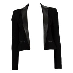 SAINT LAURENT black suede CROPPED OPEN BLAZER Jacket 40 M