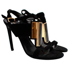 Saint Laurent Black Suede Strappy Heeled Sandals - Size 39