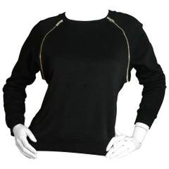 Saint Laurent Black Sweater w/Zipper Accents FR36