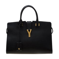 Saint Laurent Black Textured Leather Medium Cabas Chyc Satchel