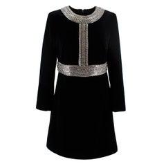 Saint Laurent Black Velvet Chain Trim Mini Dress - US Size 8