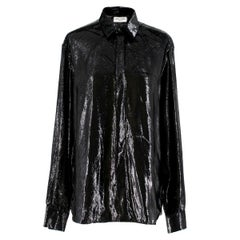 Saint Laurent Black Velvet-Lame Shirt - Pre Season Sample estimated SIZE M