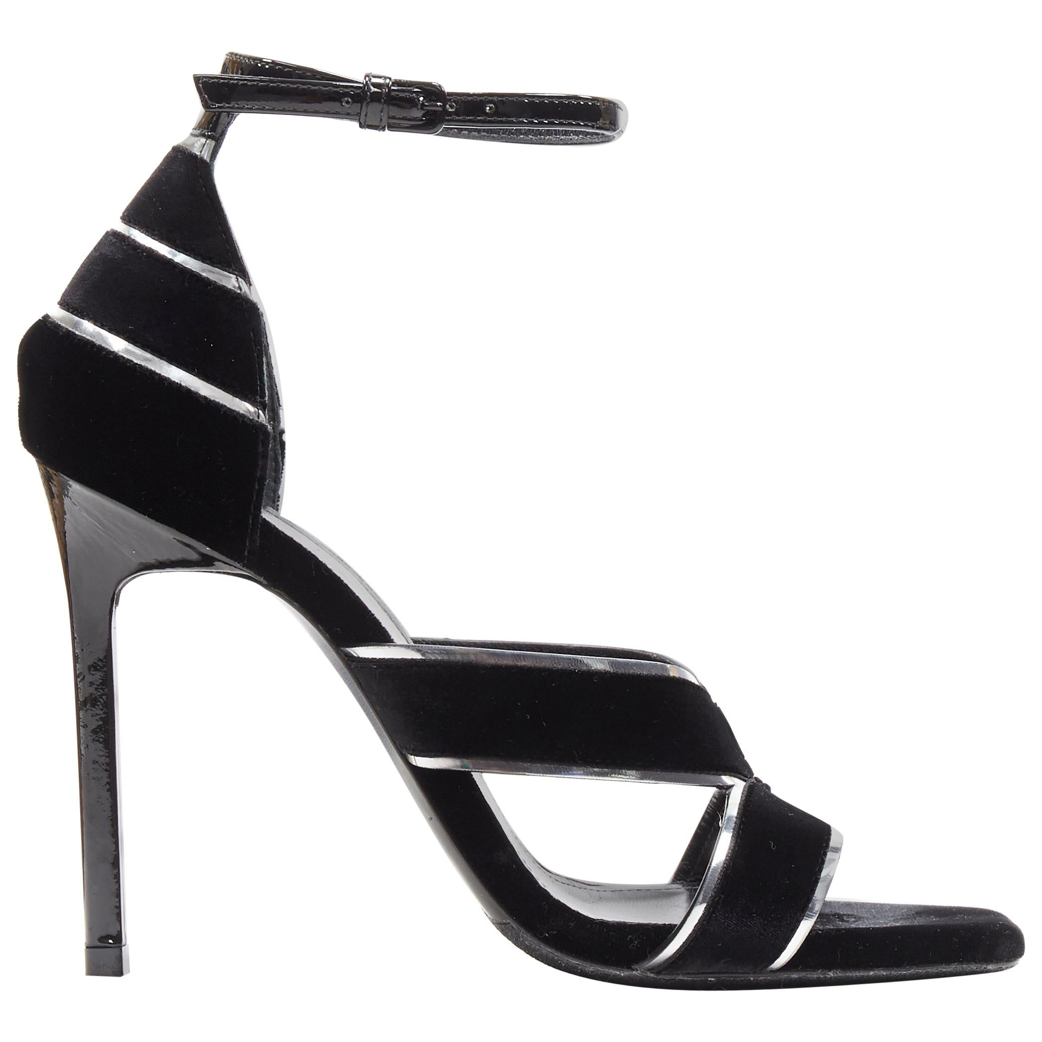 SAINT LAURENT black velvet silver trimmed high heel strappy sandals EU36