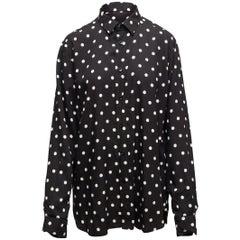 Saint Laurent Black & White Polka Dot Button-Up Top