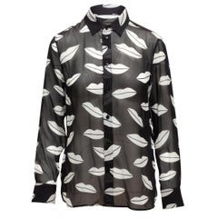 Saint Laurent Black & White Silk Lip Print Top