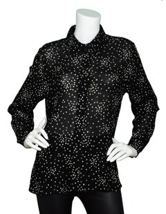 203d50b8b281a5 Saint Laurent Black/White Star Print Blouse Sz F 46 For Sale at 1stdibs