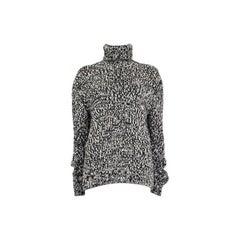 SAINT LAURENT black & white wool Turtleneck Sweater XS