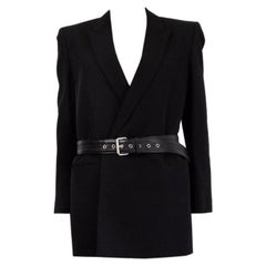 SAINT LAURENT black wool BELTED BLAZER Jacket 40 M