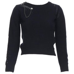 SAINT LAURENT black wool cashmere blend bead chain distressed cropped sweater XS