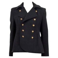 SAINT LAURENT black wool DOUBLE BREASTED PEACOAT Coat Jacket 38 S