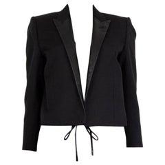 SAINT LAURENT black wool LEATHER LAPEL CROPPED BLAZER Jacket 40 M