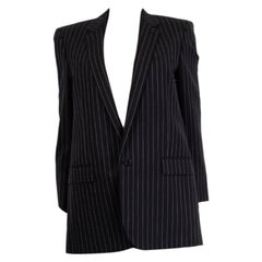 SAINT LAURENT black wool PINSTRIPED BLAZER Jacket 40 M