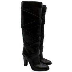 Saint Laurent Black Wraparound Leather Boots 38