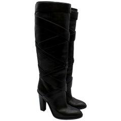 Saint Laurent Black Wraparound Leather Boots - Size EU 38