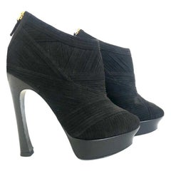 Saint Laurent  Black YSL Palais Suede Peep Toe Platform Booties
