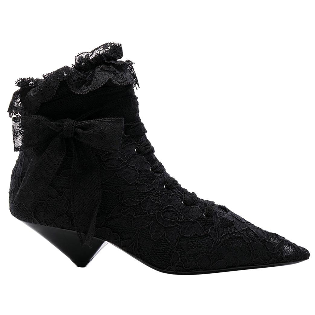 Saint Laurent Blaze 45 Black Lace Up Low Ankle Boots Size 36.5