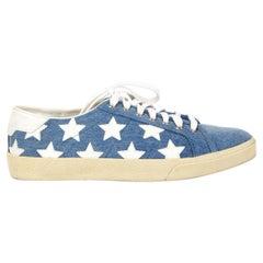 SAINT LAURENT blue Denim CLASSIC COURT STAR Sneakers Shoes 39.5