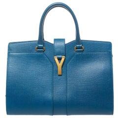 Saint Laurent Blue Leather Medium Cabas Chyc Tote