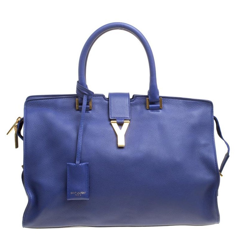 a675a1346961 Saint Laurent Blue Leather Medium Cabas Chyc Tote at 1stdibs