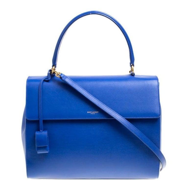 15e0422de58c06 Saint Laurent Blue Leather Medium Moujik Top Handle Bag For Sale at ...