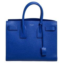Saint Laurent Blue Leather Small Classic Sac De Jour Tote