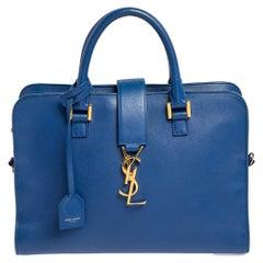 Saint Laurent Blue Leather Small Monogram Cabas Tote