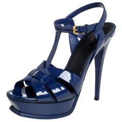 Saint Laurent Blue Patent Leather Tribute Ankle Strap Sandals Size 39.5