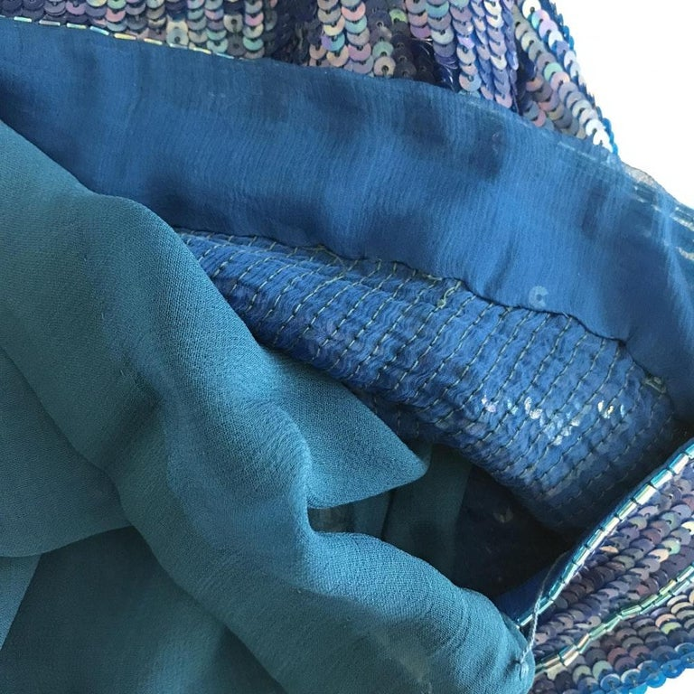 Saint Laurent Blue Sequins Silk Tank Top Sparkling Small size For Sale 6