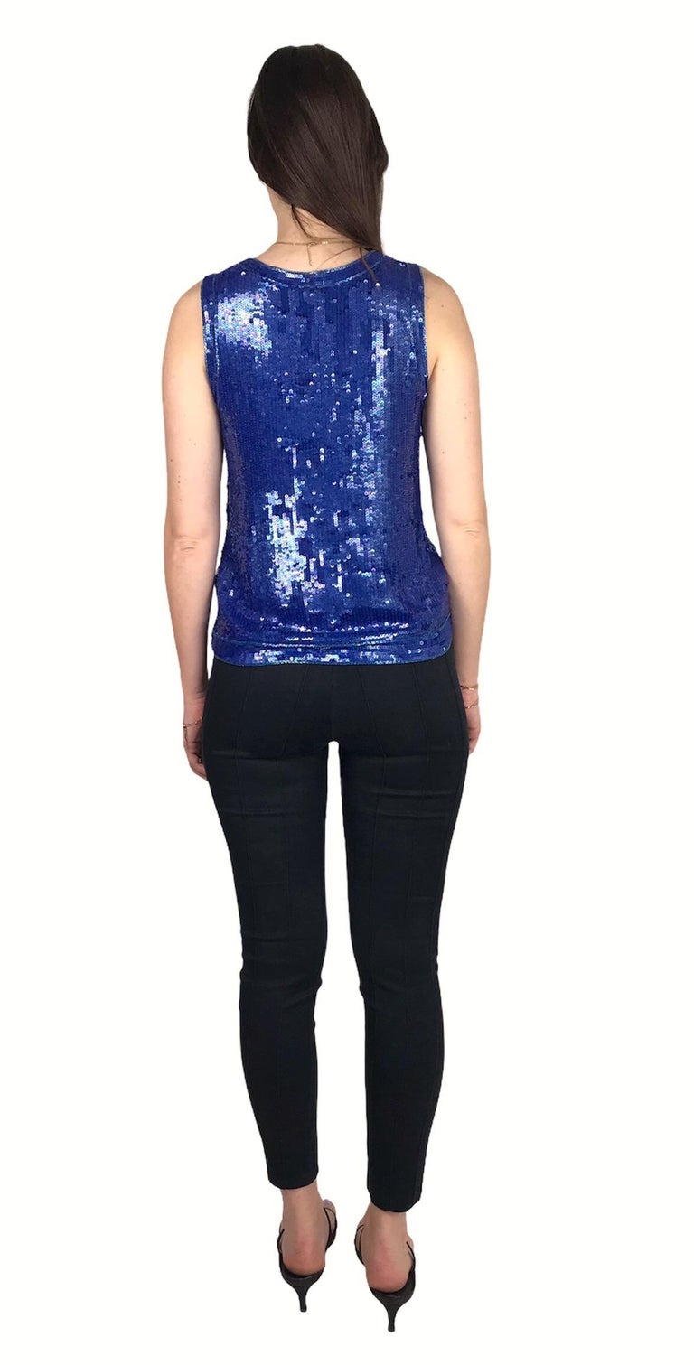 Saint Laurent Blue Sequins Silk Tank Top Sparkling Small size In Good Condition For Sale In Paris, FR