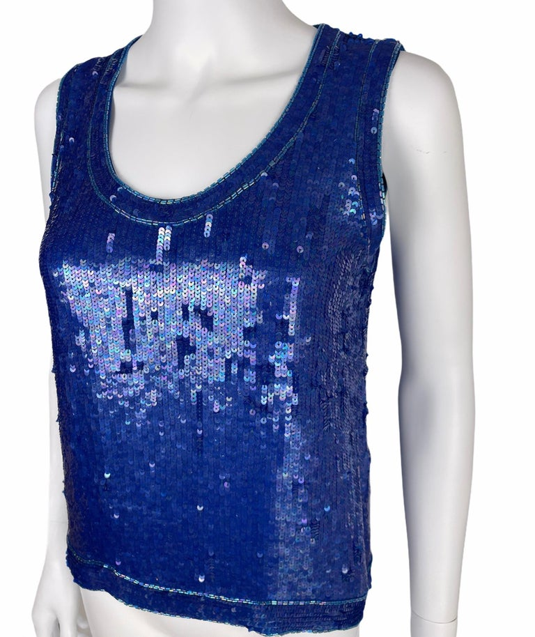 Women's Saint Laurent Blue Sequins Silk Tank Top Sparkling Small size For Sale