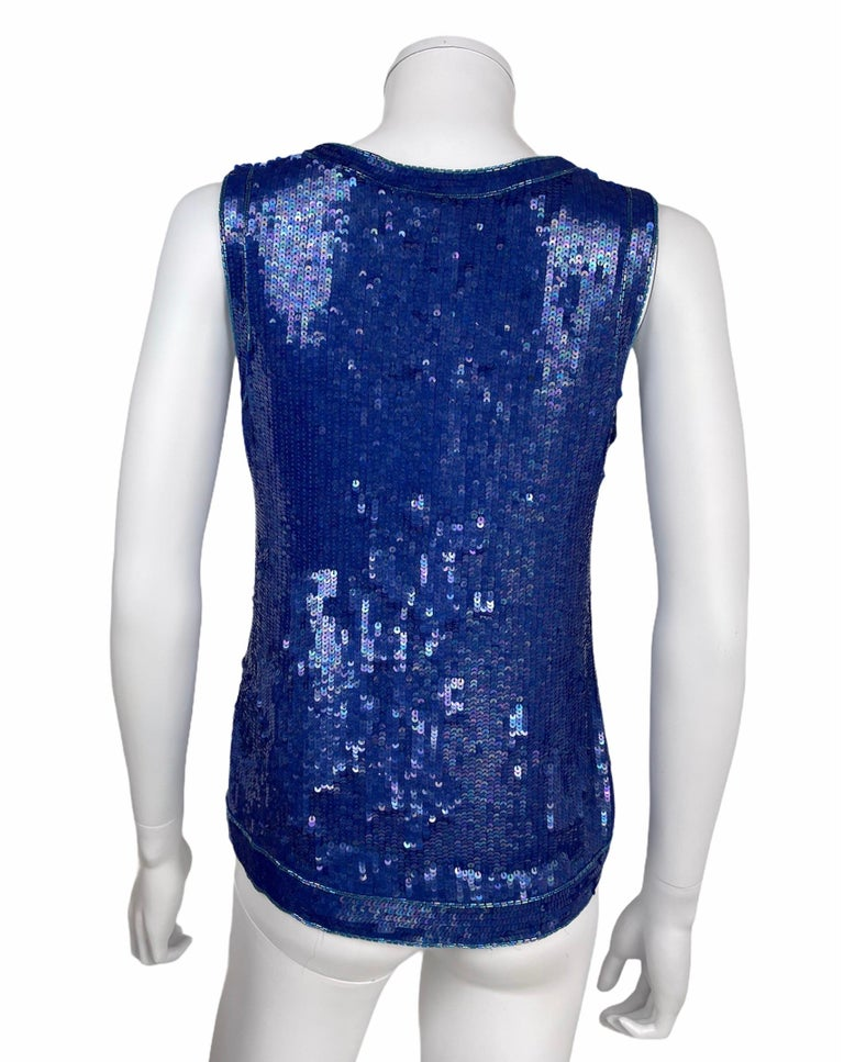 Saint Laurent Blue Sequins Silk Tank Top Sparkling Small size For Sale 1