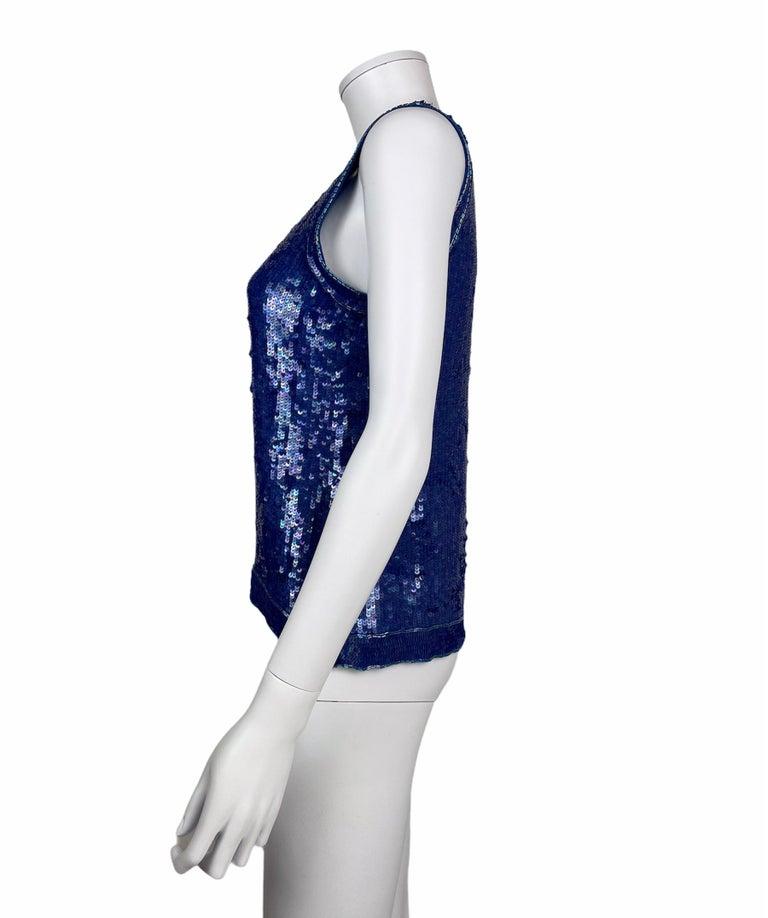 Saint Laurent Blue Sequins Silk Tank Top Sparkling Small size For Sale 2