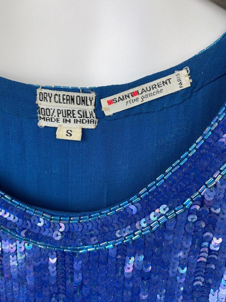 Saint Laurent Blue Sequins Silk Tank Top Sparkling Small size For Sale 3