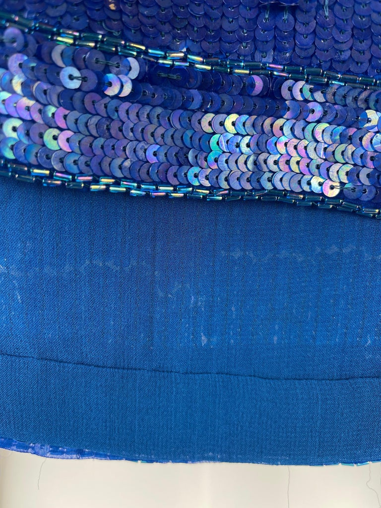 Saint Laurent Blue Sequins Silk Tank Top Sparkling Small size For Sale 4